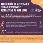 Se habilitan actividades deportivas y recreativas al aire libre en zonas amarillas